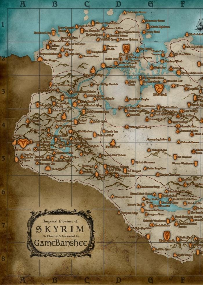полная карта skyrim 1